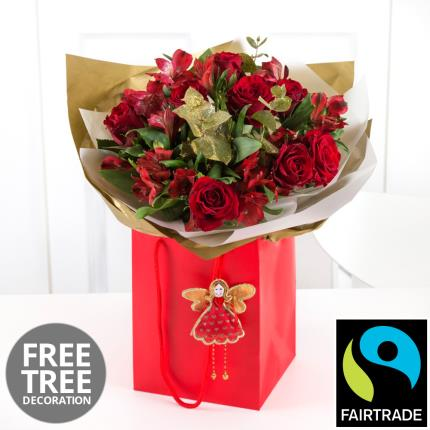 Plants - Fairtrade Rose & Alstroemeria Gift Bag with Fairy   - Image 2