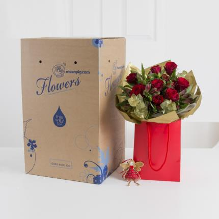 Plants - Fairtrade Rose & Alstroemeria Gift Bag with Fairy   - Image 4