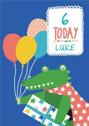 Greeting Cards - 6 Today Crocodile Personalised Card - Image 1