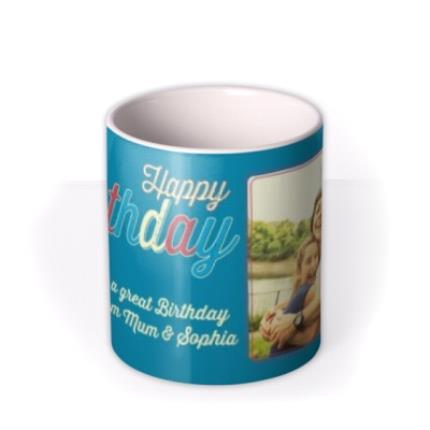 Mugs - Mum Birthday Blue Photo Upload Mug - Image 3