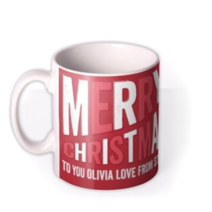 Mugs - Christmas Large Text Photo Upload Mug - Image 1