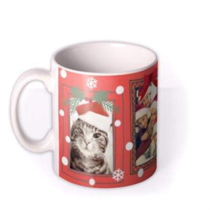 Mugs - Merry Christmas Snow Frame Photo Upload Mug - Image 1