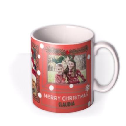 Mugs - Merry Christmas Snow Frame Photo Upload Mug - Image 2