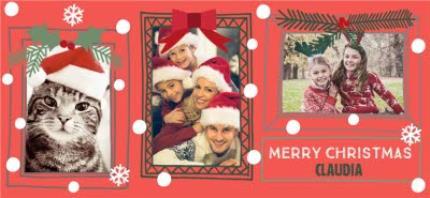 Mugs - Merry Christmas Snow Frame Photo Upload Mug - Image 4