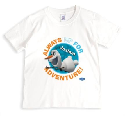T-Shirts - Disney Frozen Olaf Adventure Blue Personalised T-shirt - Image 1