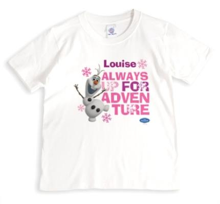 T-Shirts - Disney Frozen Olaf Adventure Pink Personalised T-shirt - Image 1