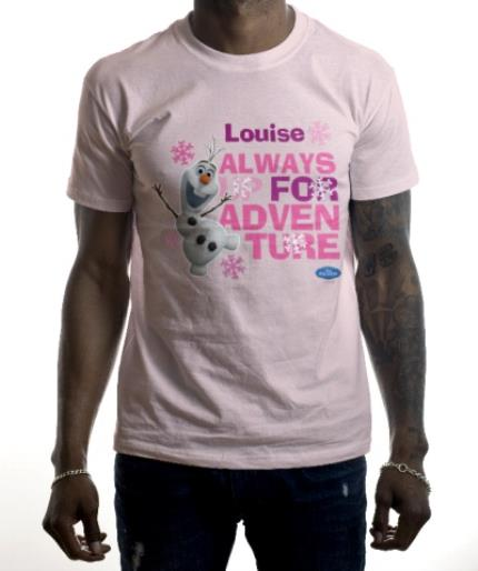 T-Shirts - Disney Frozen Olaf Adventure Pink Personalised T-shirt - Image 2