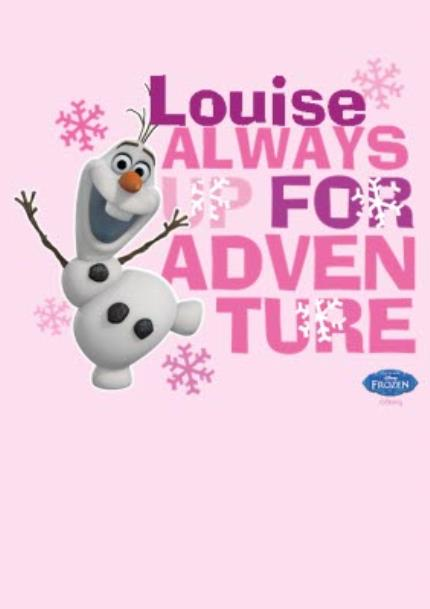 T-Shirts - Disney Frozen Olaf Adventure Pink Personalised T-shirt - Image 4