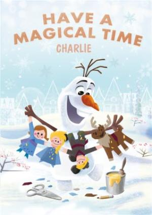 Disney Frozen Olaf Magical Time Personalised Christmas Card | Moonpig