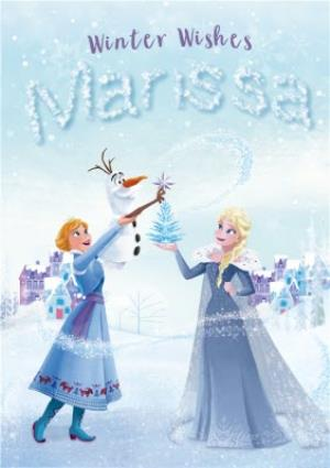 Disney Frozen Written In Ice Personalised Christmas Card | Moonpig