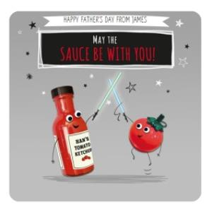 Greeting Cards - May The Sauce Be With You Personalised Fathers Day Card - Image 1