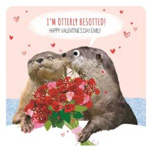 Greeting Cards - I'm Otterly Besotted Funny Happy Valentine's Day Card - Image 1