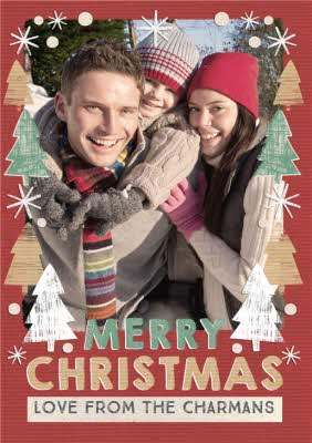 Greeting Cards - Festive Fir Photo Upload Christmas Card - Image 1