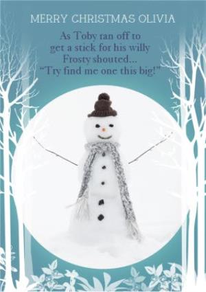 Greeting Cards - Big Stick Snowman Personalised Christmas Card - Image 1