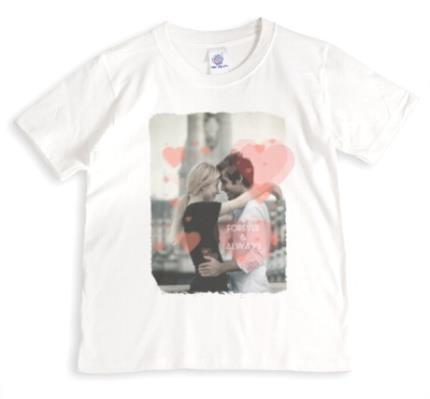 T-Shirts - Forever & Always Heart Photo Upload T-Shirt - Image 1