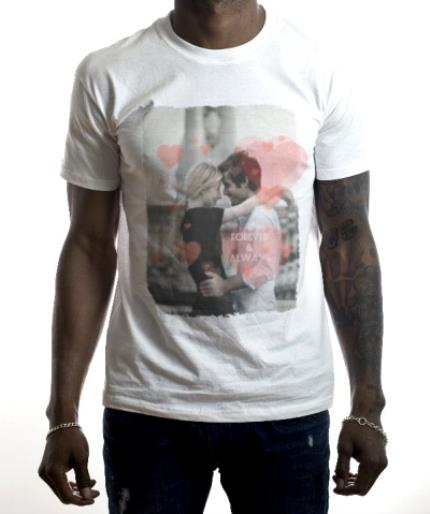 T-Shirts - Forever & Always Heart Photo Upload T-Shirt - Image 2