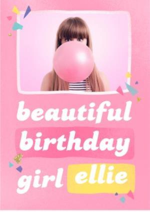 Greeting Cards - Beautiful Birthday Girl Pink Photo Upload Card - Image 1