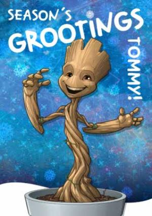 Greeting Cards - Marvel Guardians Of The Galaxy Groot Personalised Christmas Card - Image 1