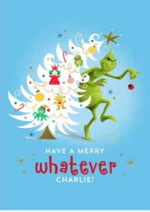 Greeting Cards - Merry Grinchmas Personalised Christmas Card - Image 1