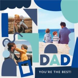 Greeting Cards - Blue & Teal Abstract Shapes Father's Day Multi-Photo Card - Image 1