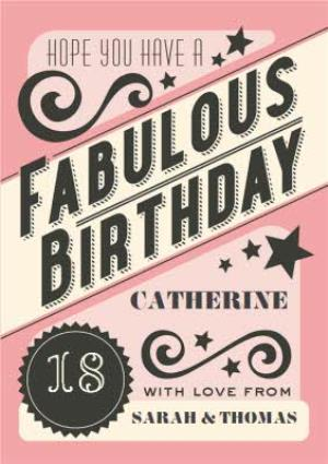 Greeting Cards - Hope You Have A Fabulous Birthday Personalised Card - Image 1