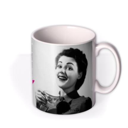 Mugs - Pink and Grey Polka Dot Personalised Text Photo Upload Mug - Image 2