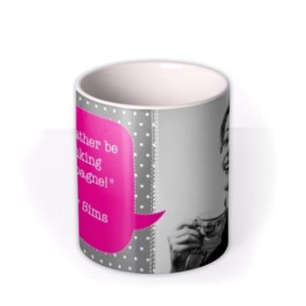 Mugs - Pink and Grey Polka Dot Personalised Text Photo Upload Mug - Image 3