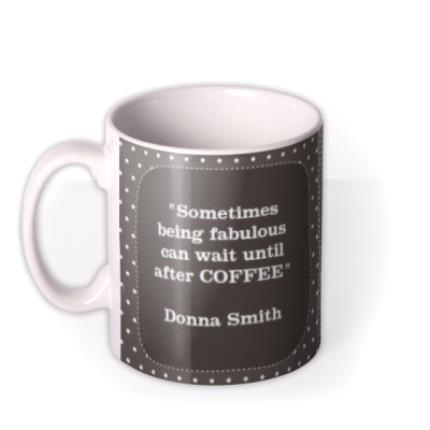 Mugs - Grey Polka Dot Personalised Text Photo Upload Mug - Image 1