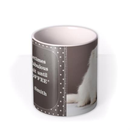Mugs - Grey Polka Dot Personalised Text Photo Upload Mug - Image 3
