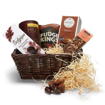Food Gifts - Chocolate Indulgence Wicker Tray - Image 1