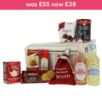 Food Gifts - Classic Medium Food Hamper in White Wicker - Image 1