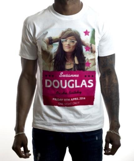 T-Shirts - Happy Birthday Music Poster Pink Photo Upload T-shirt - Image 2