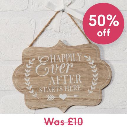Gadgets & Novelties - Happily Ever After Starts Here Plaque - Image 1