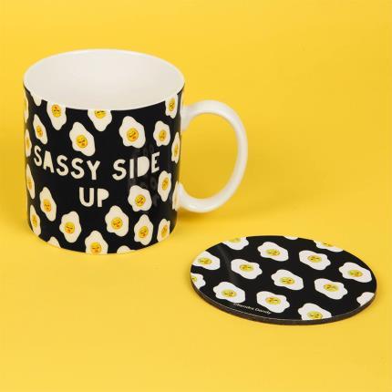 Gadgets & Novelties - Sassy Side Up Mug & Coaster Set - Image 2