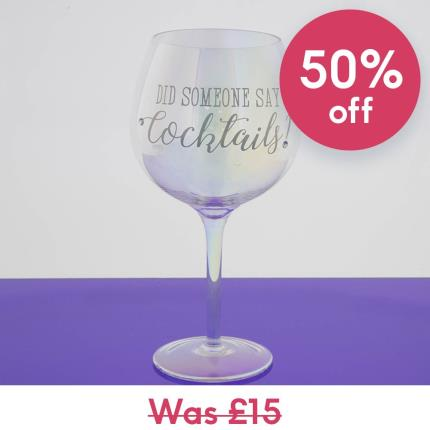 Gadgets & Novelties - 'Did Someone Say Cocktails' Silver Glass - Image 1