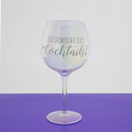 Gadgets & Novelties - 'Did Someone Say Cocktails' Silver Glass - Image 2