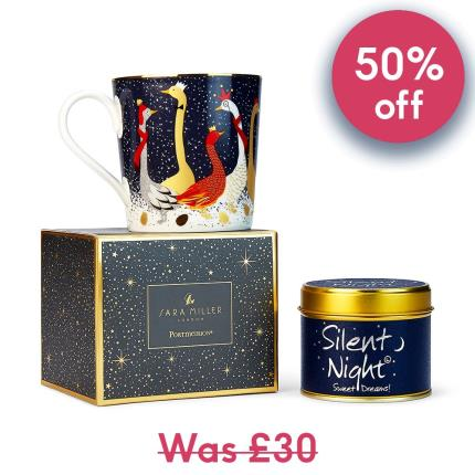 Gifts For Home - Festive Sara Miller Mug & Lily Flame 'Silent Night' Candle - Image 1