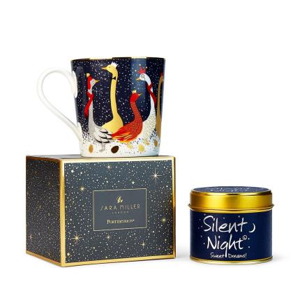 Gifts For Home - Festive Sara Miller Mug & Lily Flame 'Silent Night' Candle - Image 2
