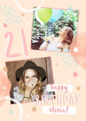 Greeting Cards - 21st Birthday Friend Photo Upload Card - Image 1