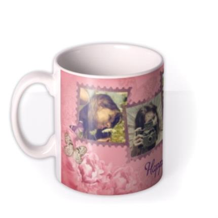 Mugs - Peony & Butterfly Personalised Text Photo Upload Mug - Image 1