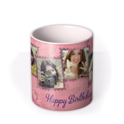 Mugs - Peony & Butterfly Personalised Text Photo Upload Mug - Image 3