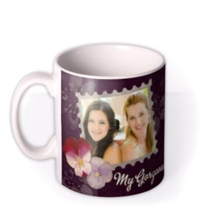 Mugs - Purple Pansy Personalised Text Photo Upload Mug - Image 1