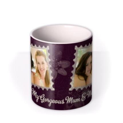 Mugs - Purple Pansy Personalised Text Photo Upload Mug - Image 3