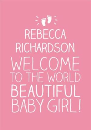 Greeting Cards - Baby Footprints Welcome To The World Personalised New Baby Card - Image 1