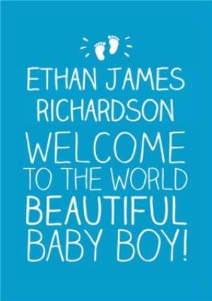 Greeting Cards - Blue Welcome To The World Personalised Baby Boy Card - Image 1