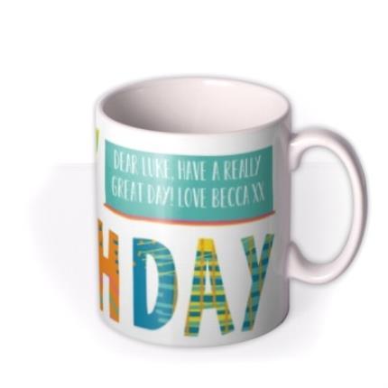 Mugs - Brightly Patterned Happy Birthday Custom Text Mug - Image 2