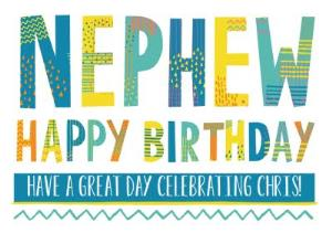Bright Patterned Letters Nephew Happy Birthday Card