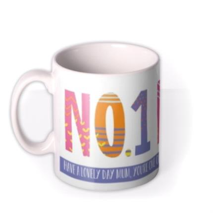 Mugs - Brightly Patterned Number One Mum Custom Text Mug - Image 1