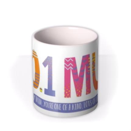 Mugs - Brightly Patterned Number One Mum Custom Text Mug - Image 3