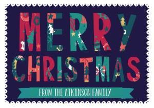 Greeting Cards - Hullabaloo Merry Christmas Personalised Card - Image 1